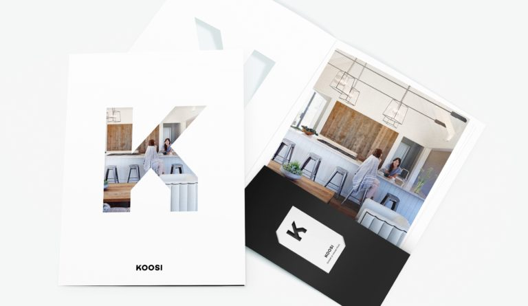 Koosi stationary design, folder with brandmark, logo, and photography.