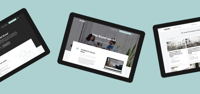 Overview of various pages of Koosi's responsive website on tablets.