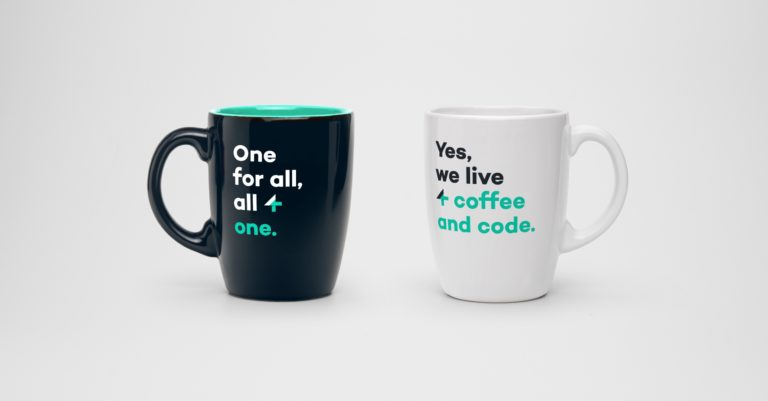 team4talent rebranding quotes and visual identity on coffee mug.