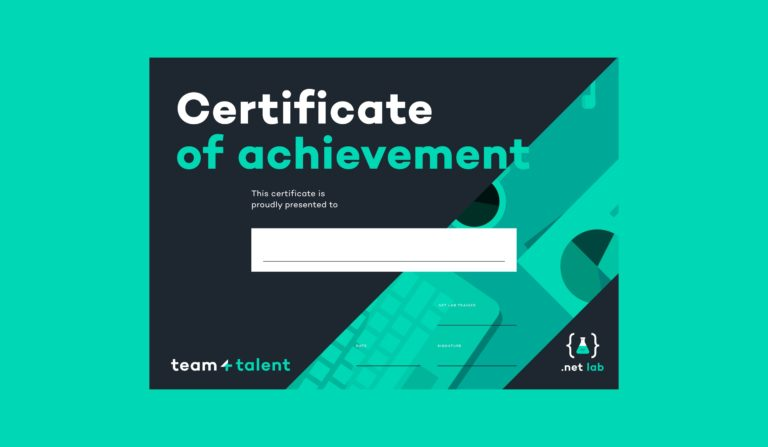 'Certificate of achievement' in tem4talent's visual identity.