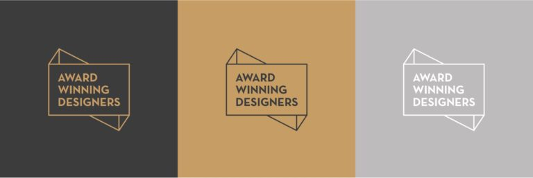 Award Winning Designers' logo seen in the visual identity's three colours.