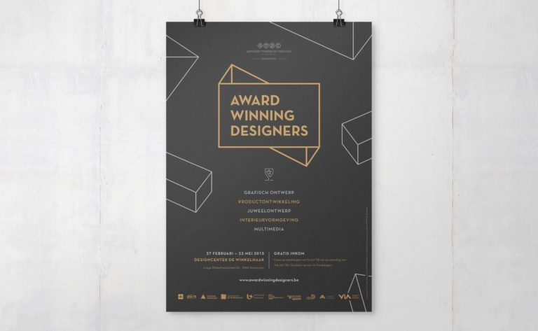 Award Winning Designers' logo and visual identity on poster.
