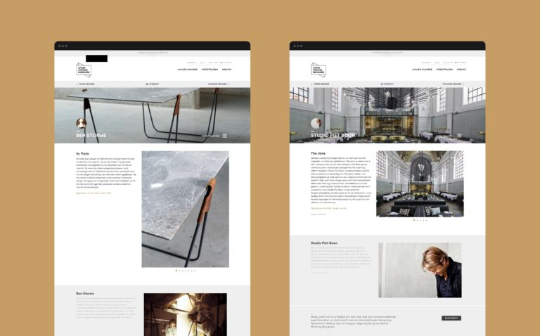 Overview of Award Winning Designers' website.