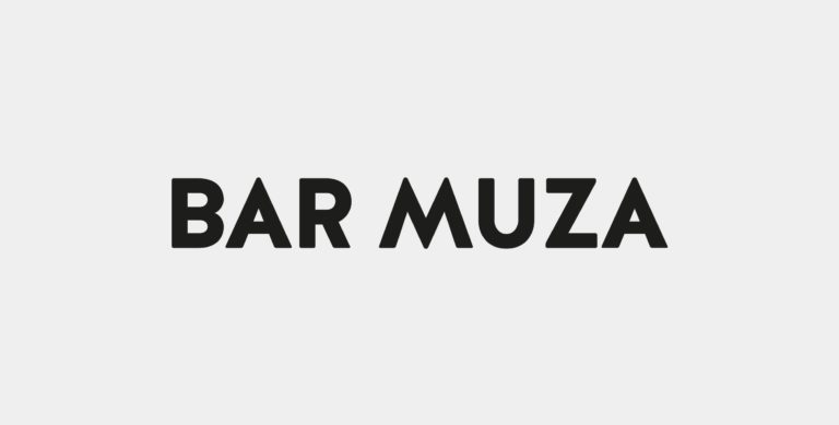 Bar muza's logo with black typography.