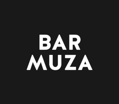 Bar Muza's logo in white typography.