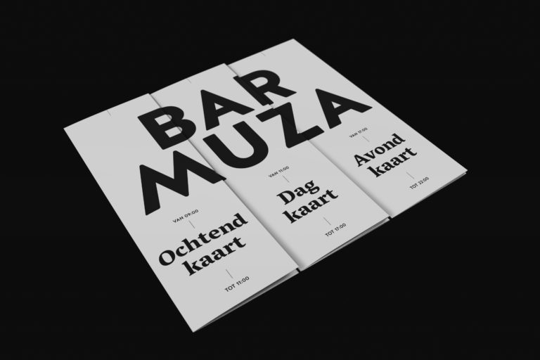 Three menus, forming the Bar Muza logo.