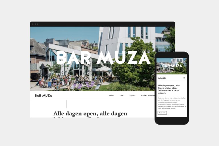 The home page of Bar Muza's responsive website, seen on a computer and on a mobile phone.