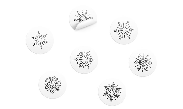 Snow pattern stickers used to close up the special NYE menus.