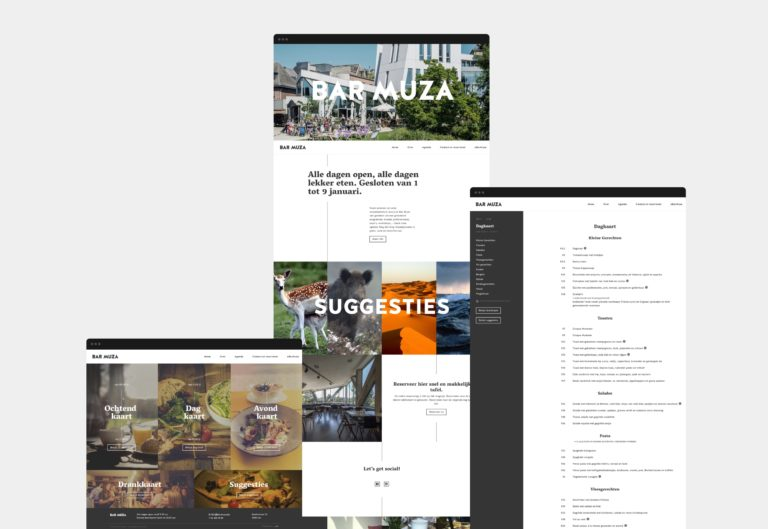 Overview of various pages of Bar Muza's website.