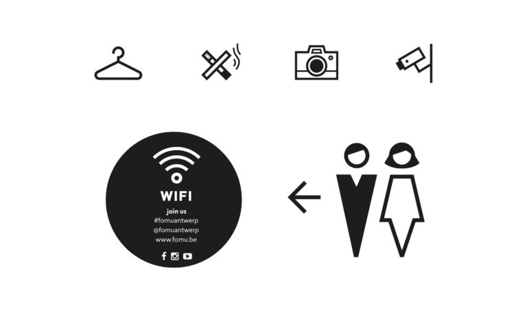 Various icons used in FOMU's museum signage.