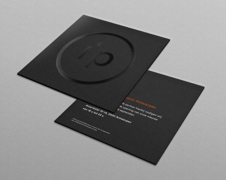 Interpoint's brand mark logo and visual identity on store opening invitations.