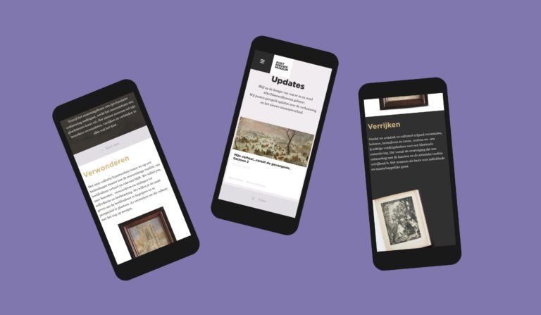Various pages of KMSKA's responsive campaign website seen on smartphone screens.