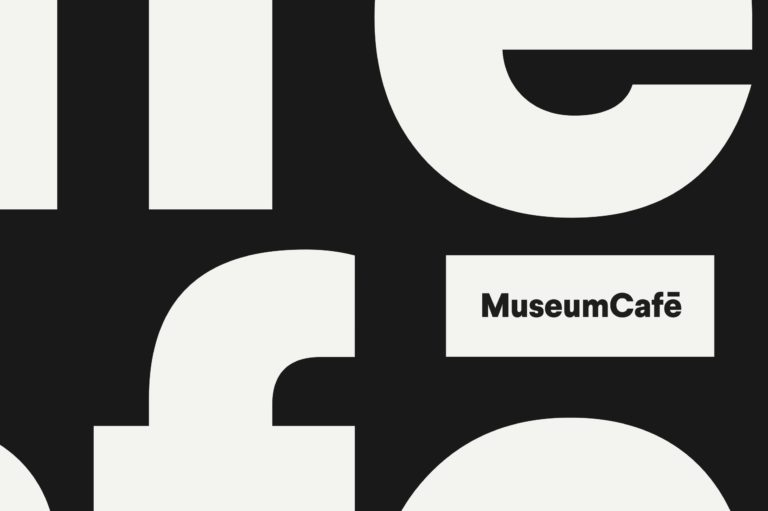 MuseumCafé's new logo and black and white visual identity.