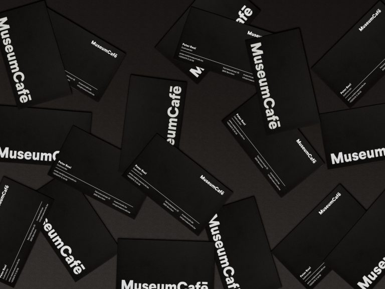 MuseumCafé's new visual identity seen on business cards.