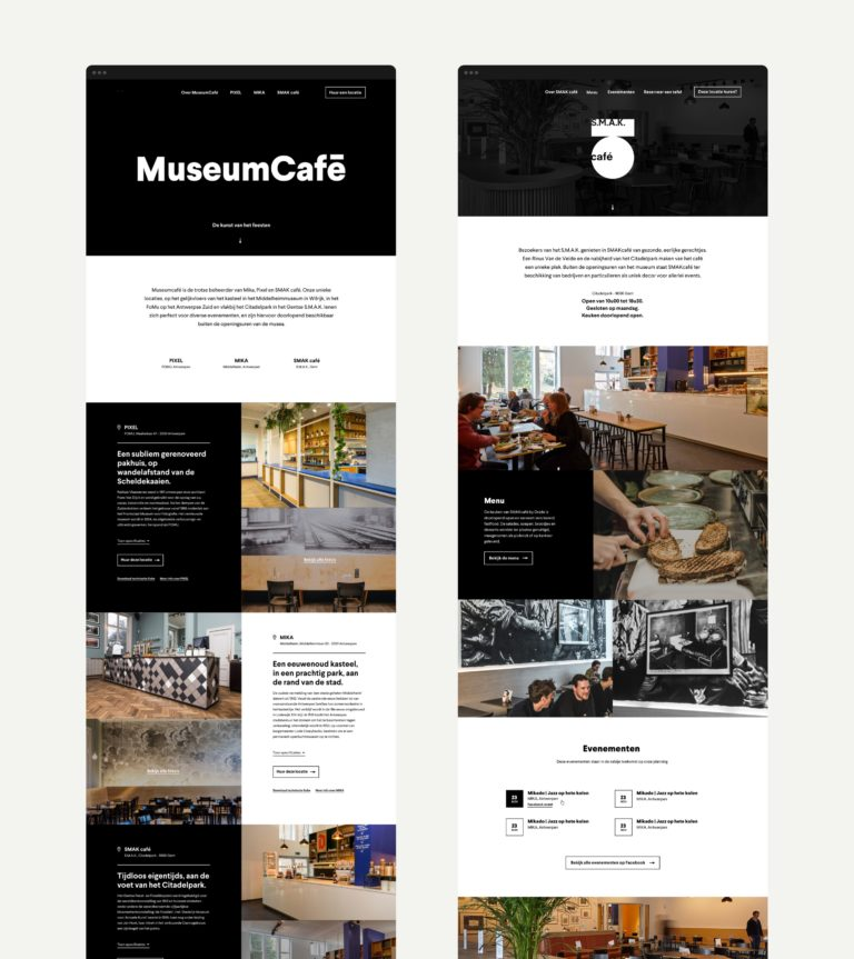 Overview of the home page of MuseumCafé's website and S.M.A.K. Café's one page website.