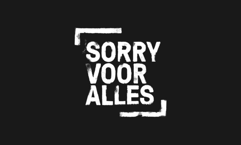 TV show Sorry Voor Alles' black and white logo.