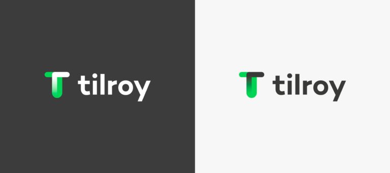 Two variations of Tilroy's logo on different backgrounds.