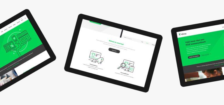 Tilroy's responsive website, seen on tablets.