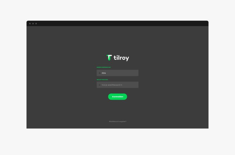 Login page of Tilroy's user interface.