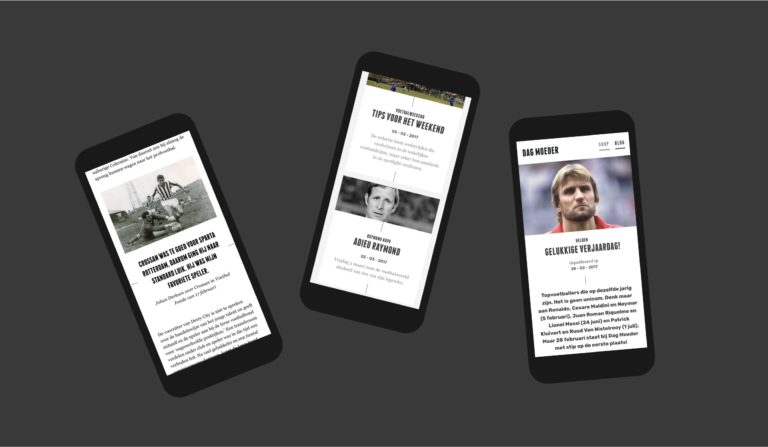 Various pages of Dag Moeder's responsive website, seen on mobile phones.