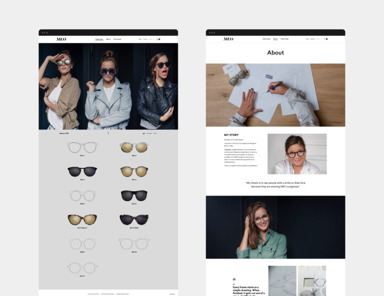 Meo eyewear website branding webshop fashion