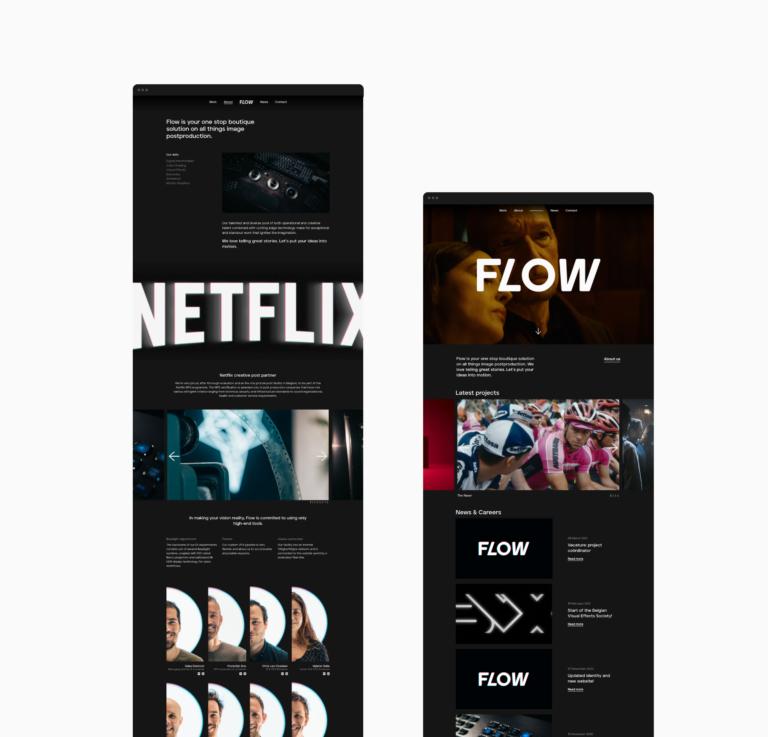 Flow postproduction, branding, huisstijl, website, grafisch ontwerp, antwerpen, logo, website
