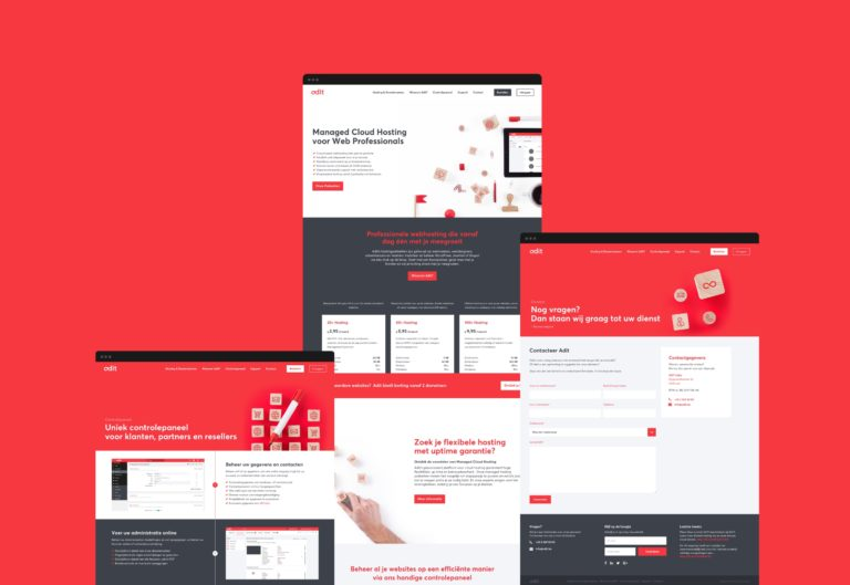 Overview of the main pages of Adit's responsive corporate website.