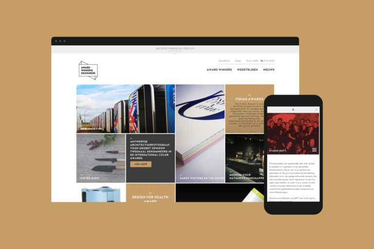 Award Winning Designers responsive webdesign, seen on a computer and a smartphone.