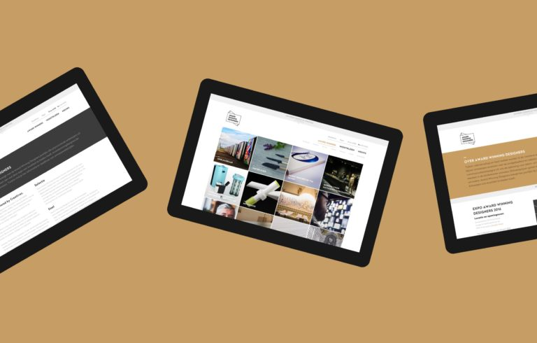 Various pages of Antwerp's Award Winning Designers event website seen on tablets.