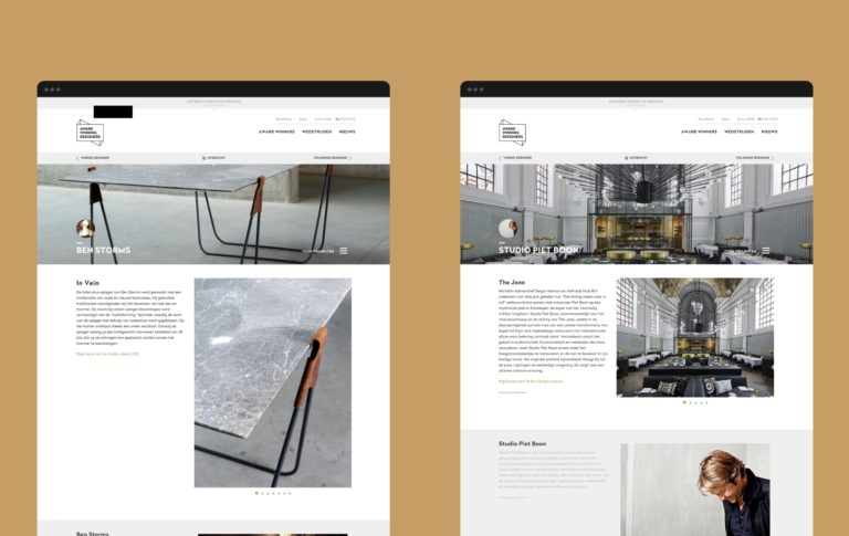 An overview of two pages of Award Winning Designers' website.