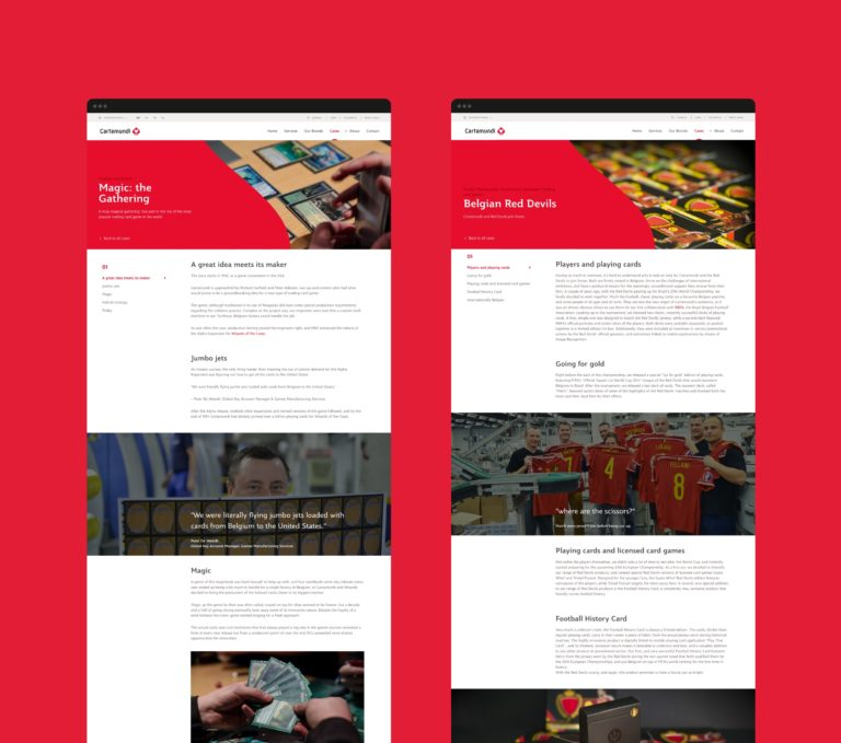 Overview of long read case studies on Cartamundi's responsive corporate website.