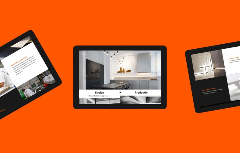 Various pages of Interpoint's responsive corporate website seen on tablets.