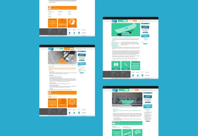Overview of Jongerengids' responsive website. information architecture and icons.