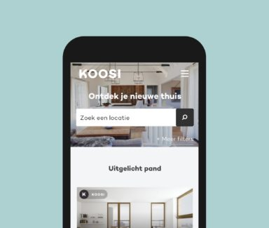 The home page of Koosi's real estate online platform, seen on a mobile phone.