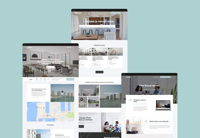 Overview of the main pages of Koosi's responsive online platform, featuring photography, integrated Google maps, and copywriting.