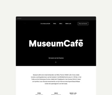 The home page of MuseumCafé's website, featuring logo, baseline, copywriting, and links to one page websites of every Museumcafé location.