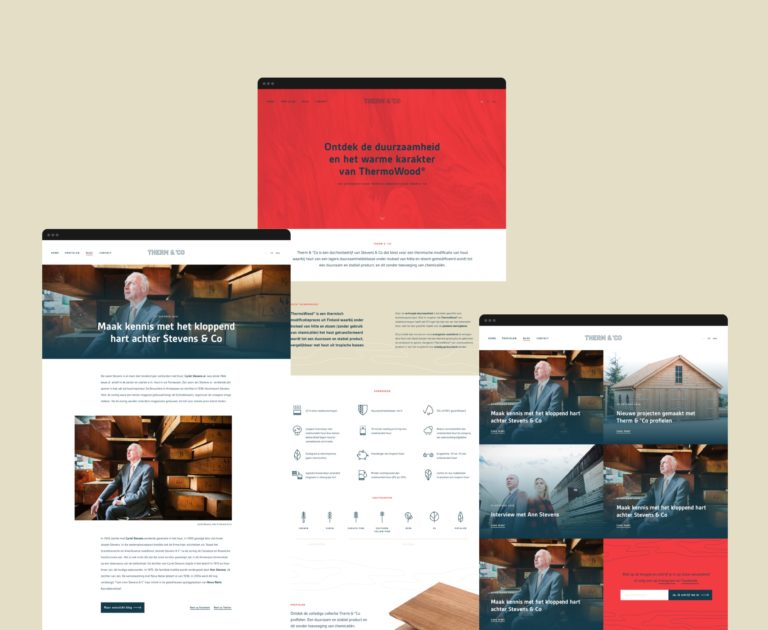Overview of the main pages of Therm en Co's responsive website, featuring photography and icon sets.