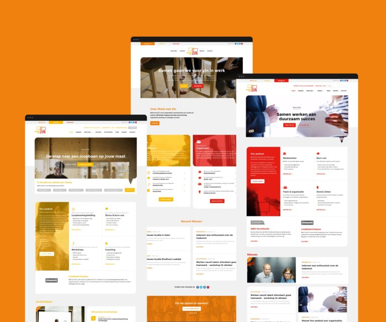 An iverview of Werk Met Zin's responsive website and clear information architecture.