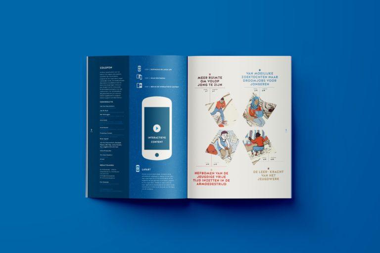 Magazine design, illustration, infographics, typography, magazine lay-out, Antwerpen.