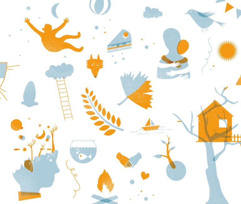 Illustration for RASA children's book. cover art, cover design, book design.